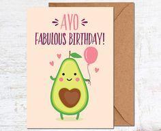 Avocado birthday card vegetarian birthday card birthday card funny avocado birthday card birthday card friend birthday card funny cute birthday card bookmarktalkfo Image collections