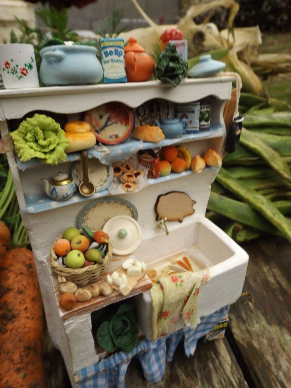 dollhouse miniature Belfast cottage sink unit , handmade 1/12 scale ...