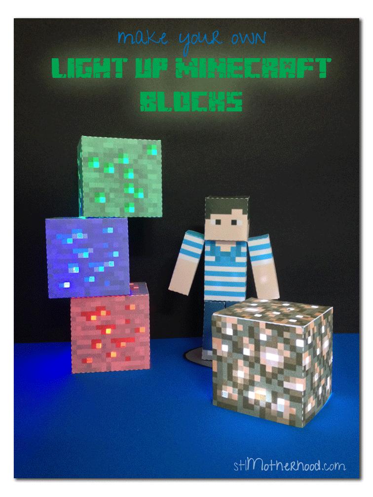 Diy Minecraft Light Up Blocks With Free Printable Minecraft Diy Crafts Diy Minecraft Crafts For Teens