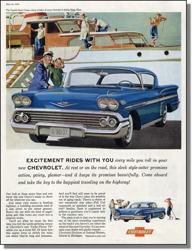 1958 Chevy Impala Sport Coupe - Sea Captain - Print Ad