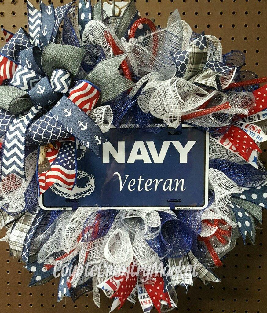 Custom Order For Frederick Us Navy Veteran Mesh Wreath Military Door