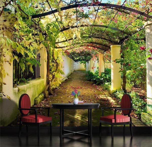 Garden Pergola 3D Mediterranean Arbor Full Wall Mural Photo ...