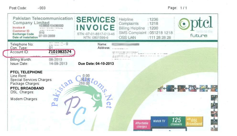 Ptcl bill online Online