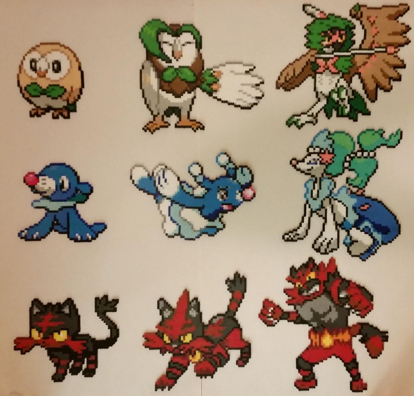 Pokemon Sun Moon Starters And Evolutions Perlers Free U S