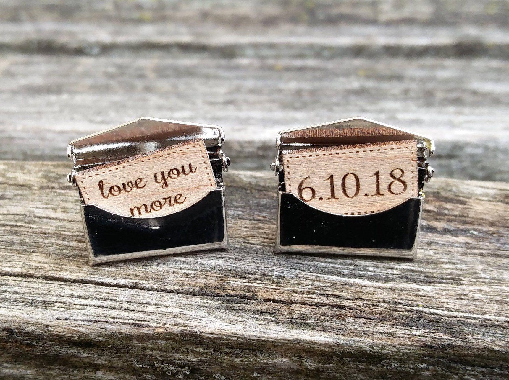 Custom Engraved Silver Personalized Cufflinks Anniversary Gunmetal Groomsmen Gift Gold Wedding Birthday Rose Gold Antique Bronze