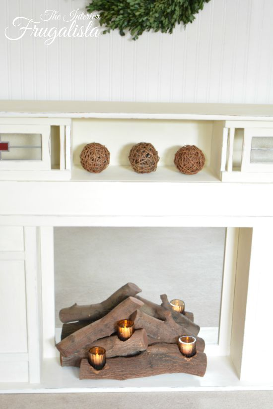 Easy Diy Faux Fireplace Insert With Real Logs Faux Fireplace Insert Candles In Fireplace Faux Fireplace Candles