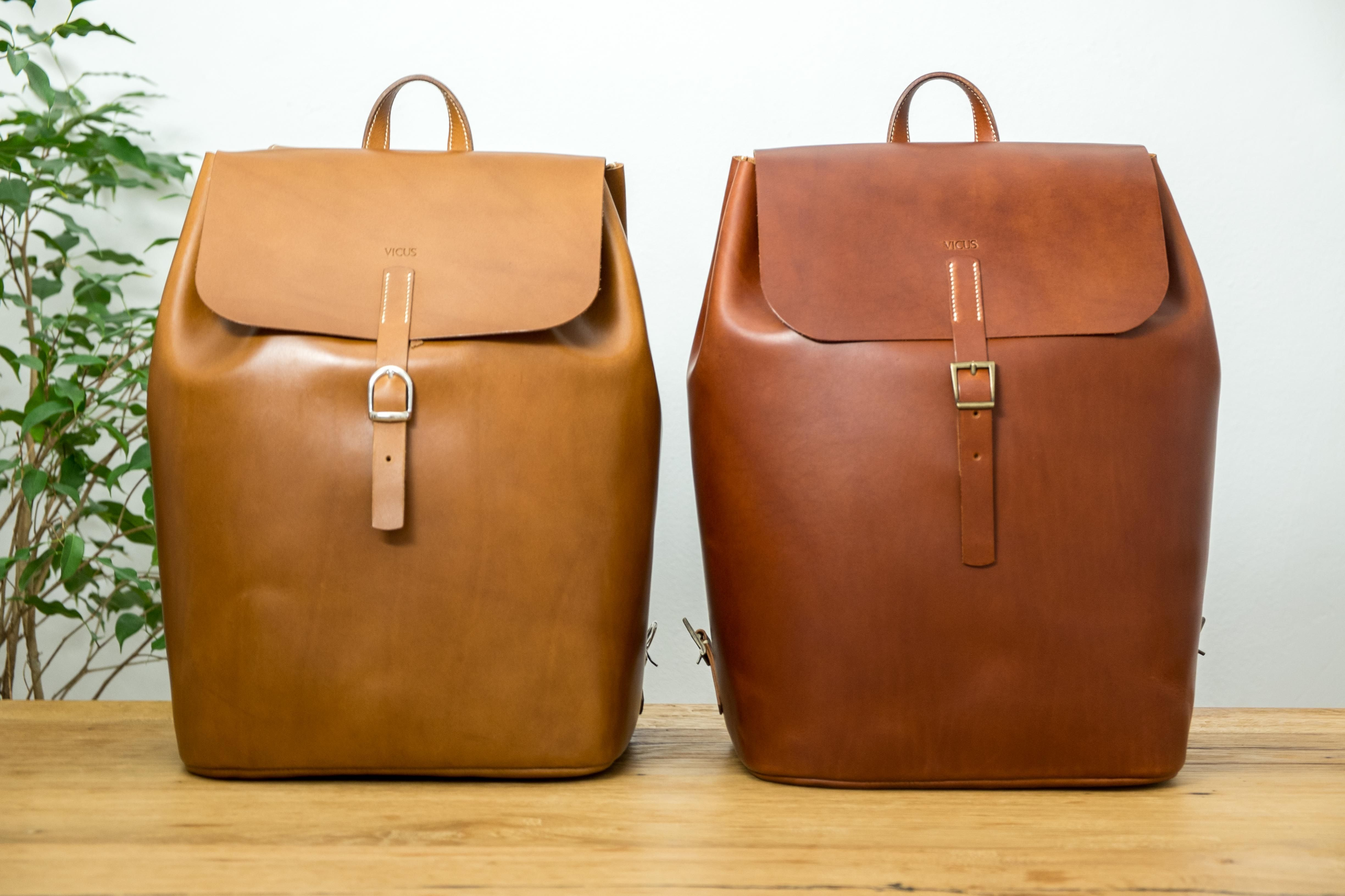 English Tan and Whisky backpacks. Fully handmade, from the cut to the finishing process, going through hand-stitching. Veg tan leather from Tuscany.