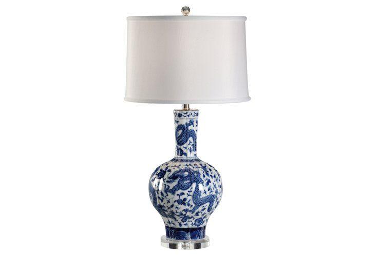 Maisie Porcelain Table Lamp, Blue | Table lamp, Lamp, Porcelain