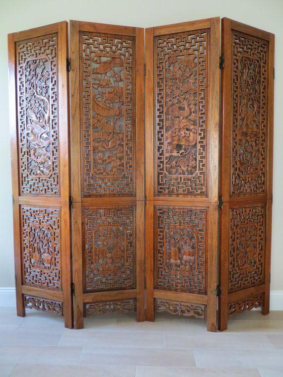 Vintage Oriental Hand Carved Wood Divider Four Panel Folding