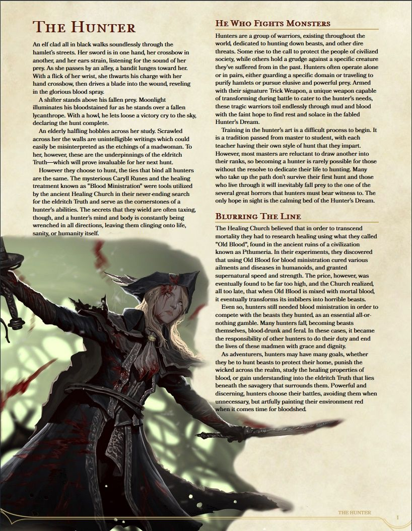 DnD 5e Bloodborne Hunter Homebrew Class in 2019 | dnd | Dnd 5e