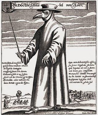 Plague mask. Filled with herbs and spices, thought to protect against the black plague.