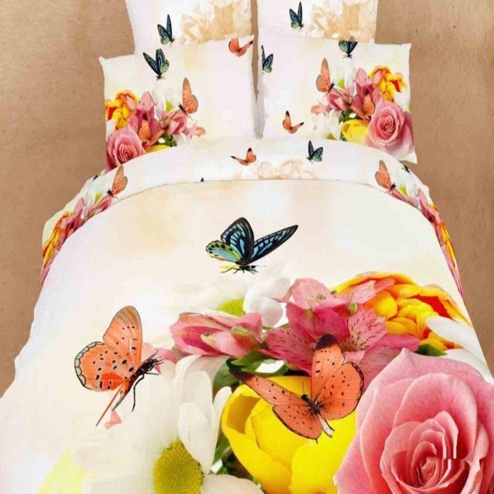 3D Red Butterfly Garden Bedding 100% Cotton Full / Queen 4pcs