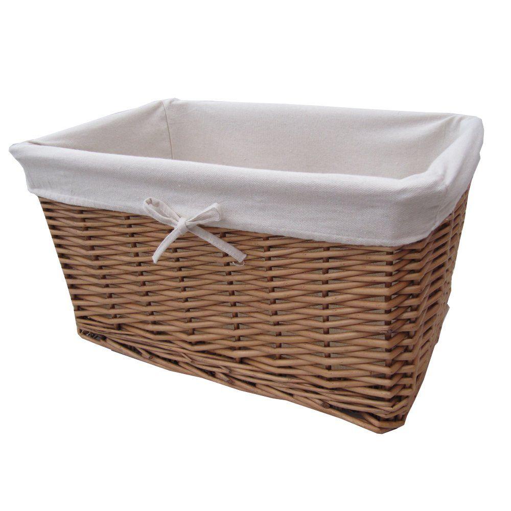 Wicker storage basket home storage baskets melbury rectangular wicker - Buy Natural Wicker Lined Storage Basket From The Basket Company
