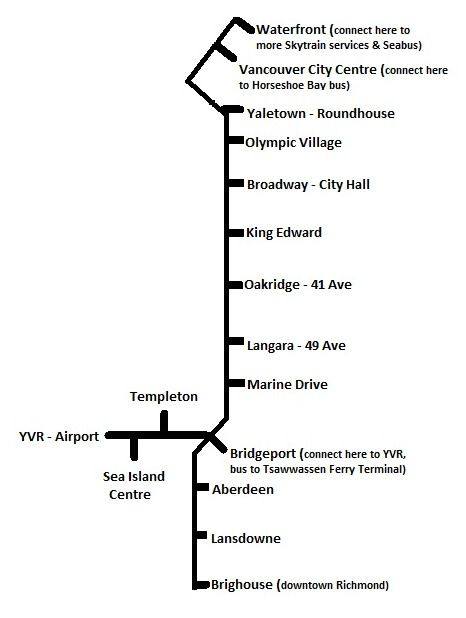 Vancouver Airport Skytrain Map Yvr Skytrain To Downtown