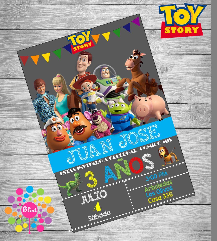 Invitacion De Cumpleaños Personalizada Toy Story De