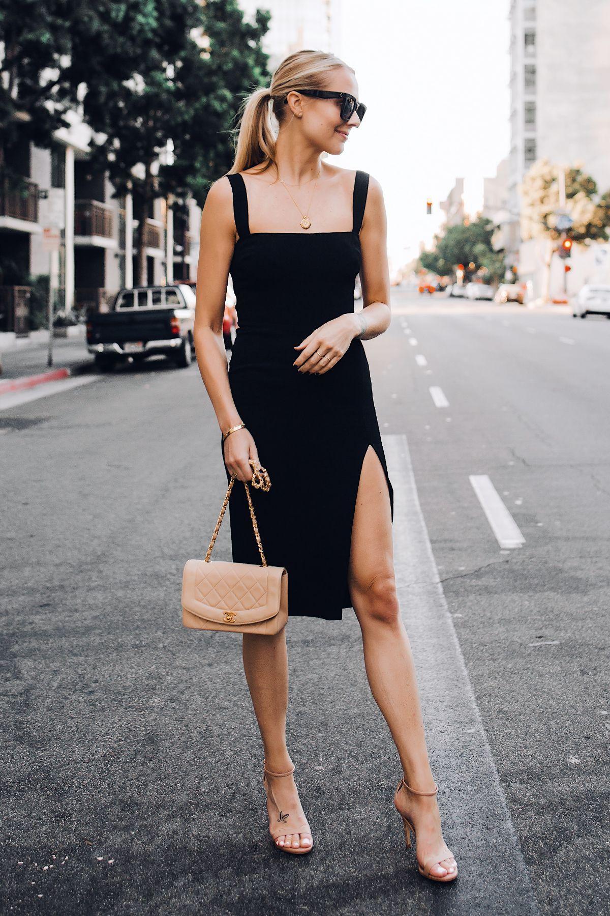 Blonde Woman Wearing Reformation Black Dress Tan Ankle Strap Heeled Sandals Chanel Tan Diana Handbag Gold Co Fashion Jackson Womens Fashion Black Women Fashion [ 1800 x 1200 Pixel ]