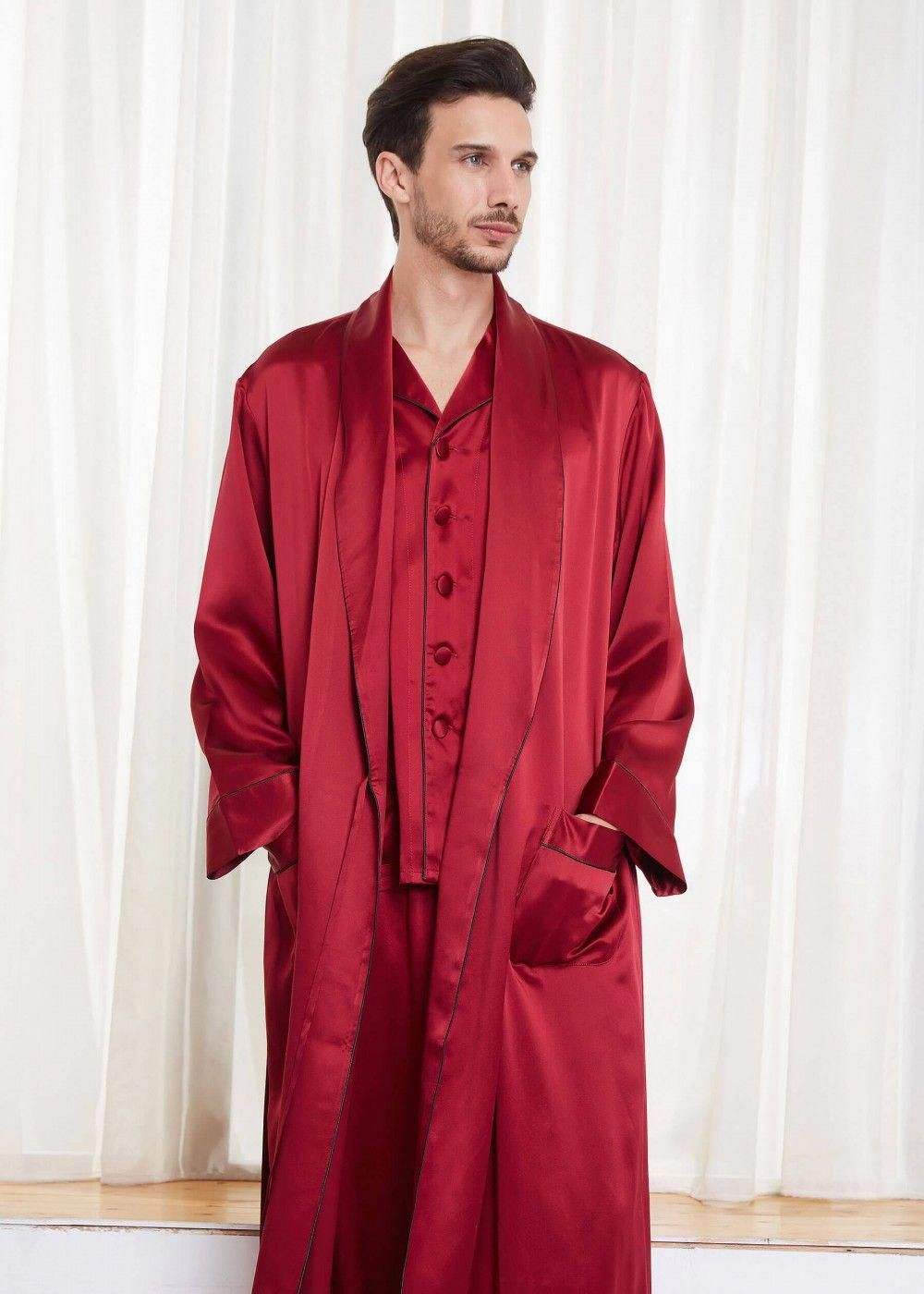 68b9bd9b6 22 Momme Contra Full Length Silk pajamas & robe Set for Men #silklingerie