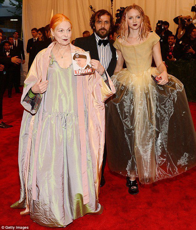 DameVivienne Westwood and Lily Cole at the Met exhibit of Chaos: Punk Couture