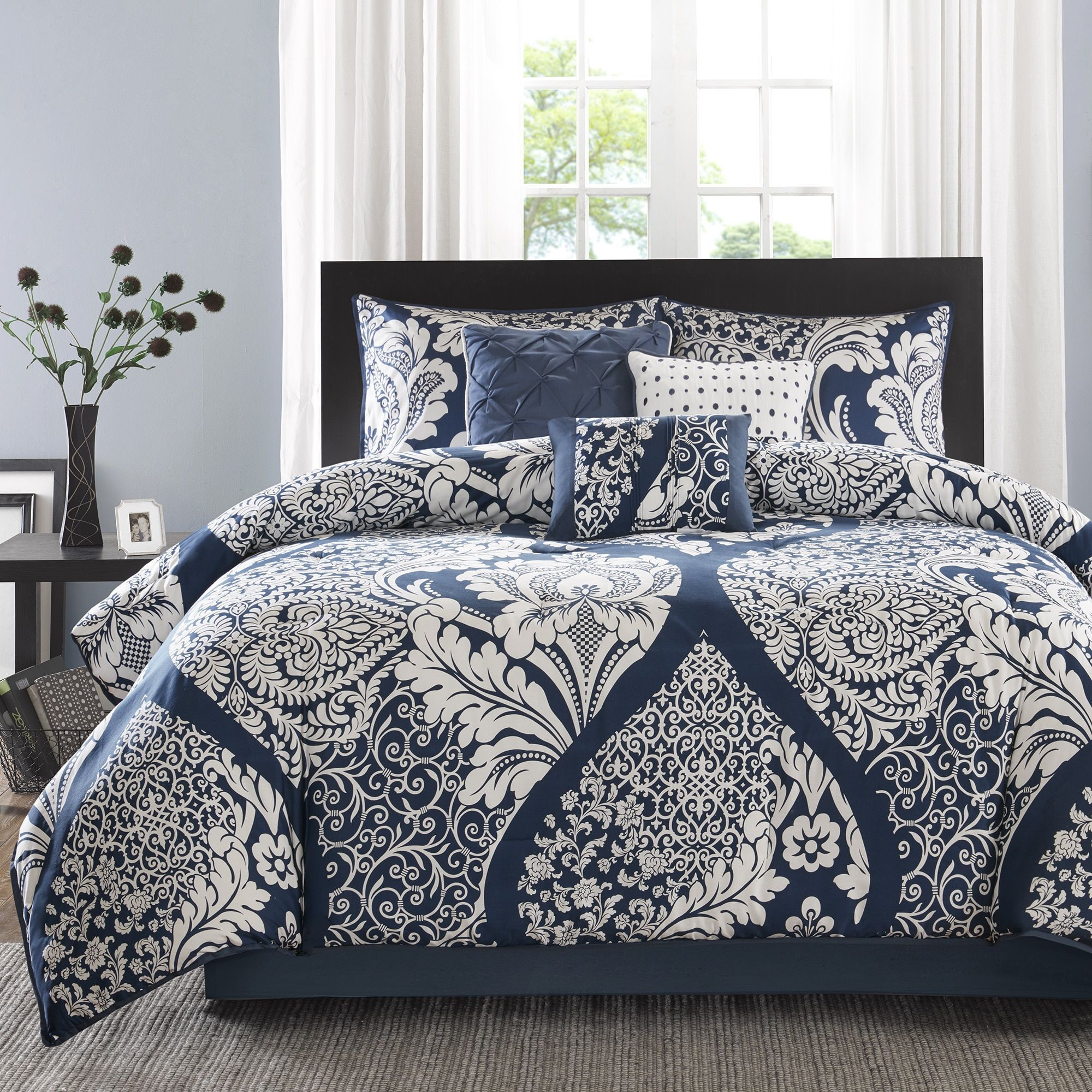 Piumoni Camera Da Letto madison park marcella indigo cotton printed 7 piece