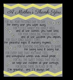 A Mother S Thank You For A Caregiver Or Teacher Of Toddlers Babysitter Gifts Teacher Appreciation Gifts Mothers Day Poems