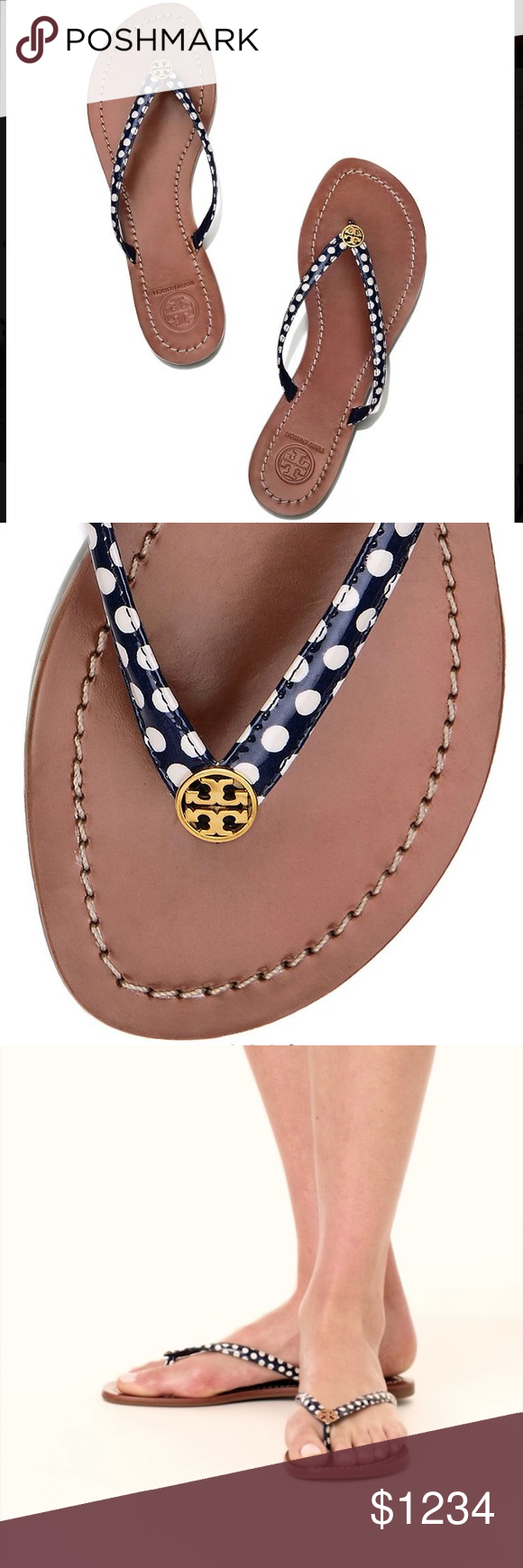 537b9bfbd NWT🎁Tory Burch Terra thong sandals Terra sandals in Nautical Dots Navy Sea.  Brand new in box with dustbag! Like this listing to be notified when  they re ...