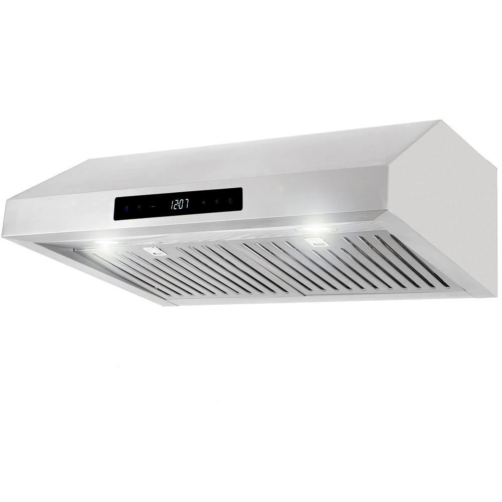 Cosmo 30 In Ducted Under Cabinet Range Hood In Stainless Steel Silver With Touch Display And Permanent Filters Products In 2019 Under Cabinet Cord Light Wall Mount Range Hood
