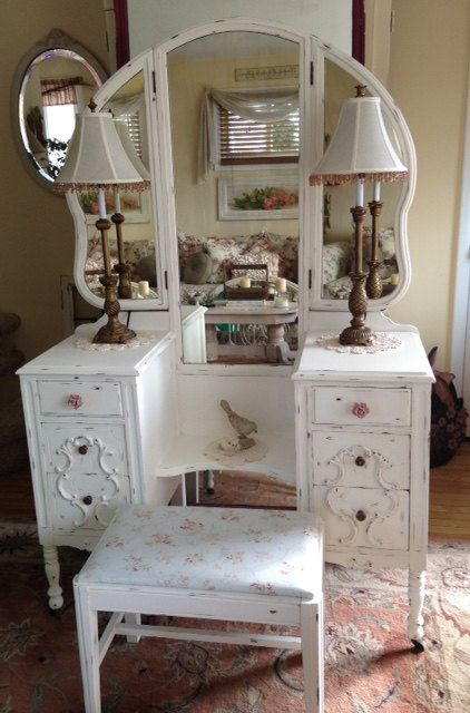 Shabby Chic Antique Chippy White Vintage Vanity with Tri-fold Mirror and  Bench~Cottage - Shabby Chic Antique Chippy White Vintage Vanity With Tri-fold