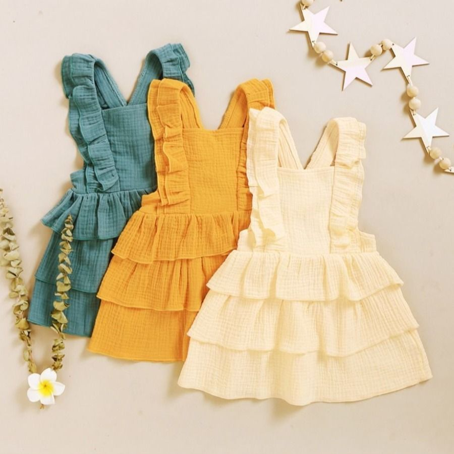 Infant Toddler Girl Layered Plain Muslin Overall Dress  Girls