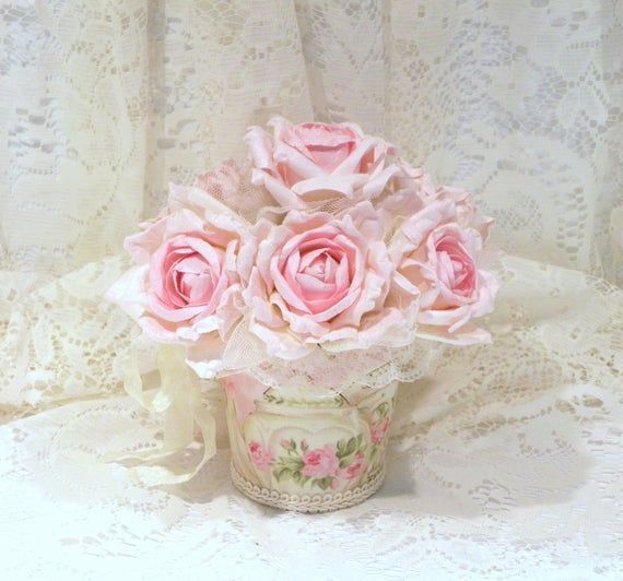 Shabby Chic Rose Arrangement, Shabby Chic Decor, Floral Arrangement, Shabby Pink Roses, Potted Roses