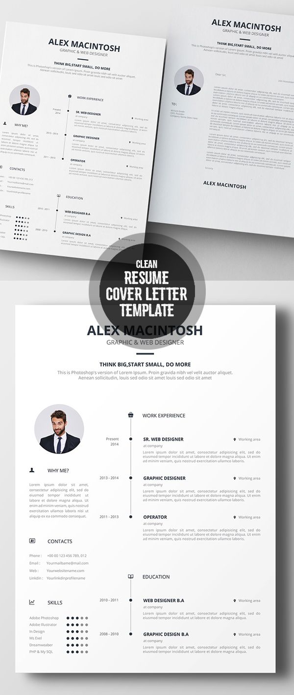 Clean Resume  Cover Letter Template  Simple Resume