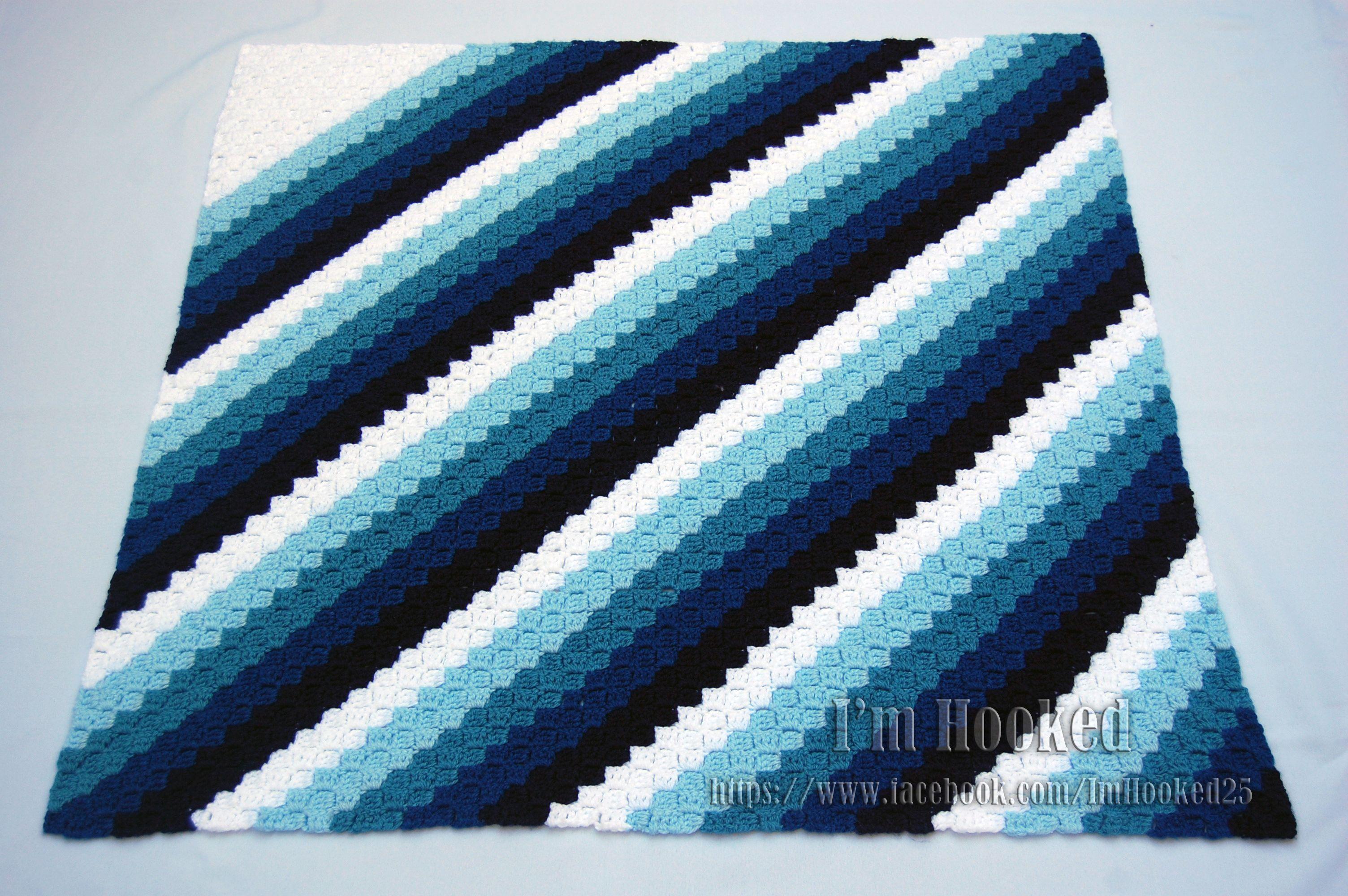 corner to corner afghan in shades of blue | Crochet | Pinterest ...