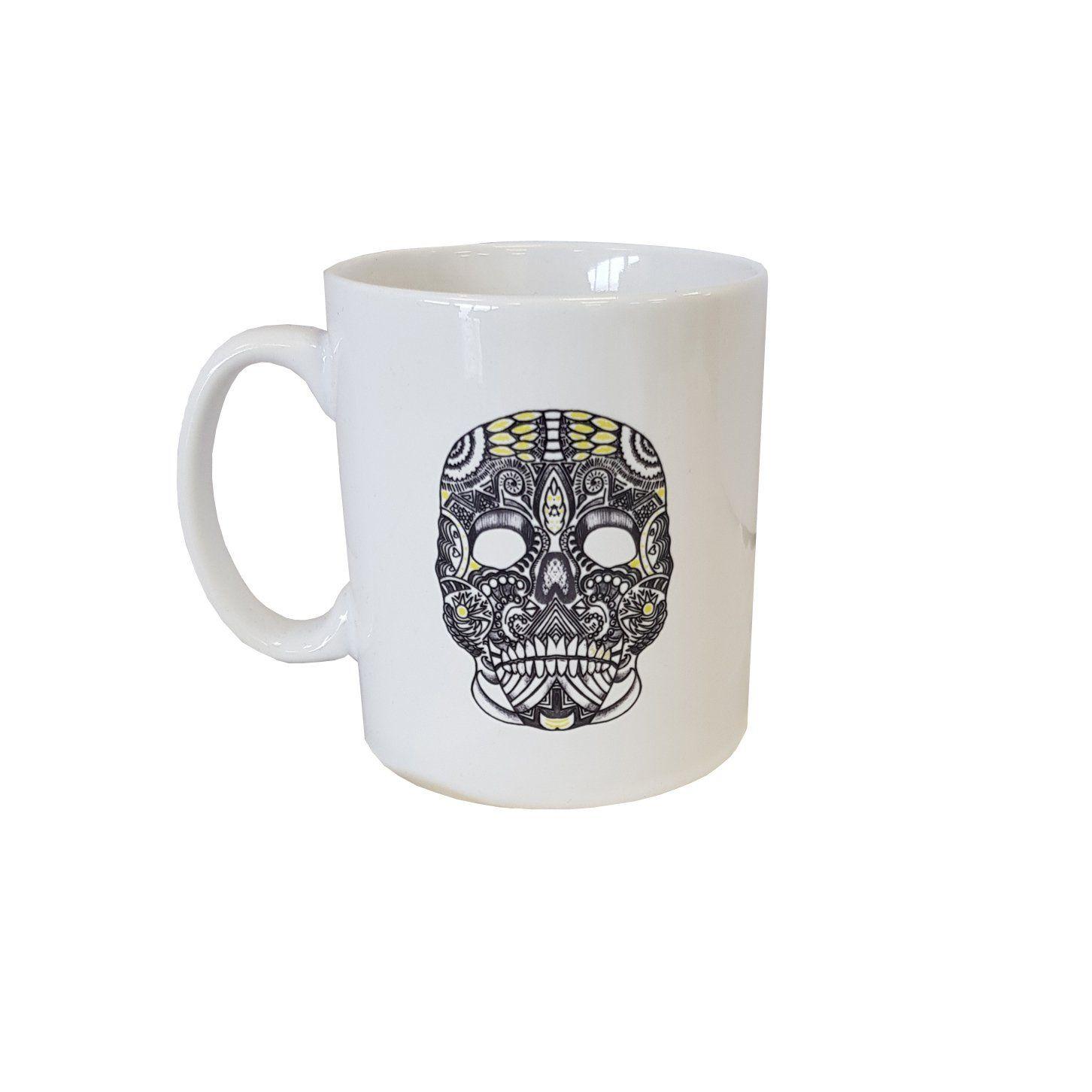Flo skull mug brown leather card holder leather credit
