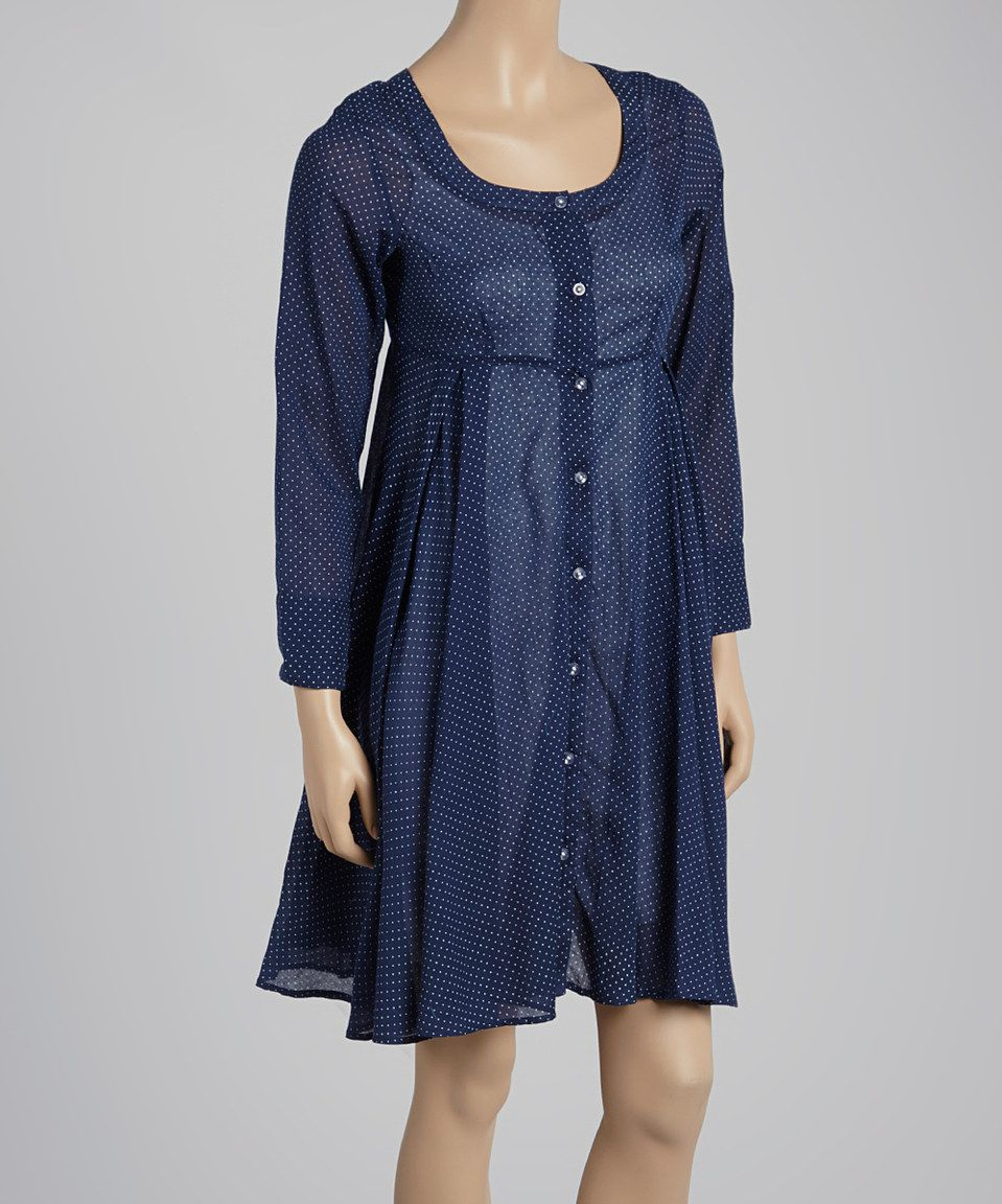 Another great find on #zulily! Navy & White Pin Dot Button-Up Dress - Women by Yo Baby #zulilyfinds
