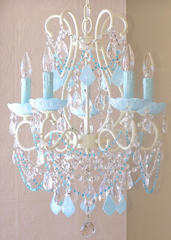 Light Beaded Chandelier With Milky Opal AquaBlue Crystals Blue - Chandelier crystals blue