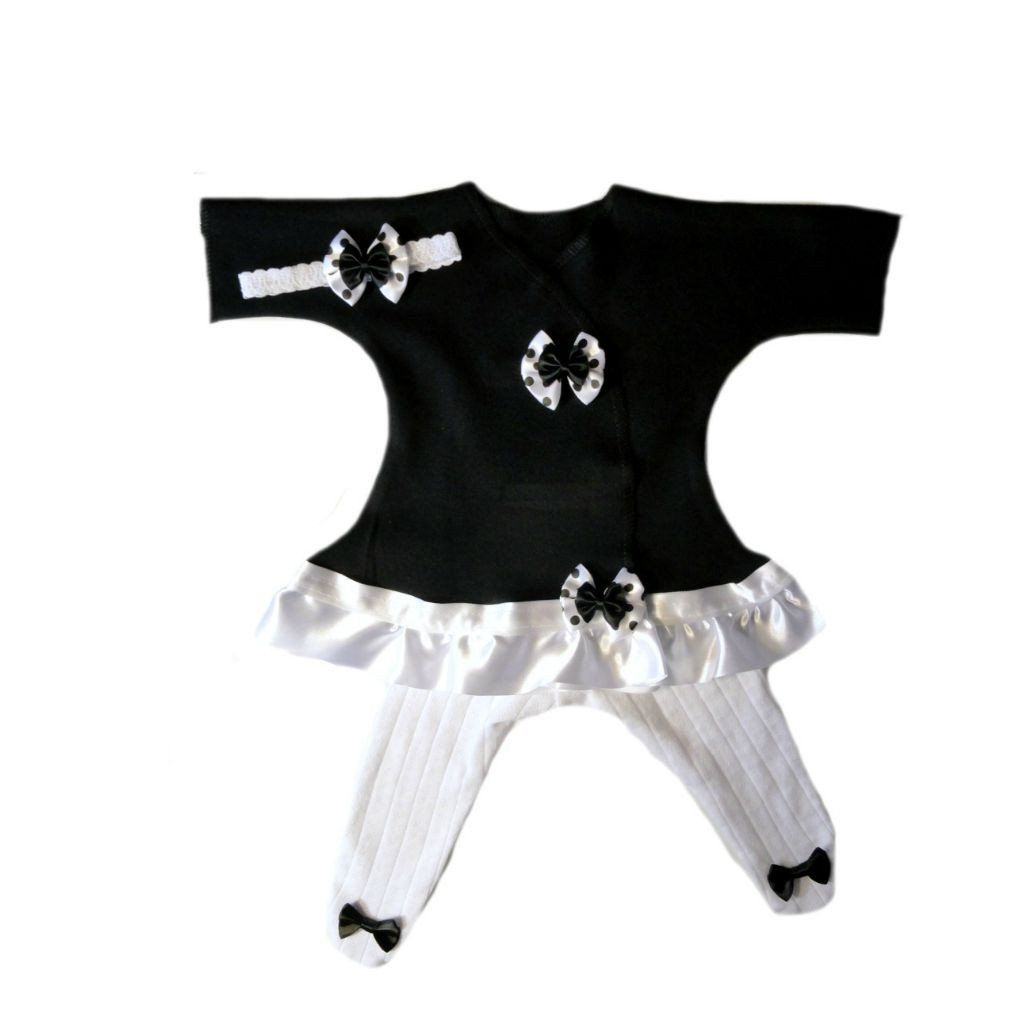 Baby Girls Black and White Polka Dot Knit Tights Preemie Newborn Toddlers