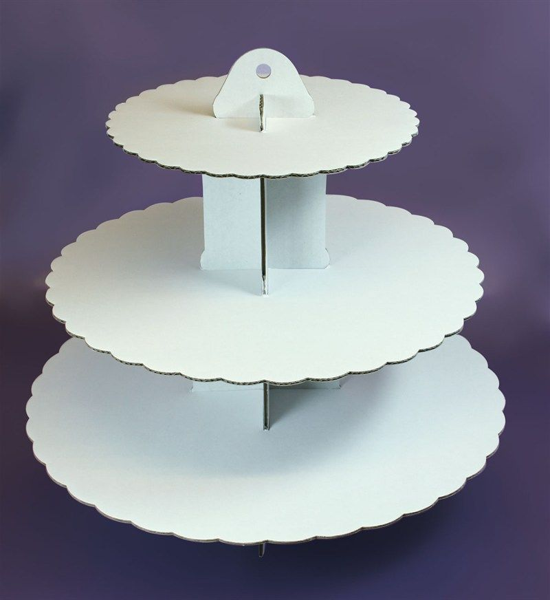 Plain White Cupcake Stand 3 Tier Holds Up To 40 Cakes Quick and Easy to assemble Made From Card Holds Up To 40 Cupcakes Measures approx 33cm 14 High
