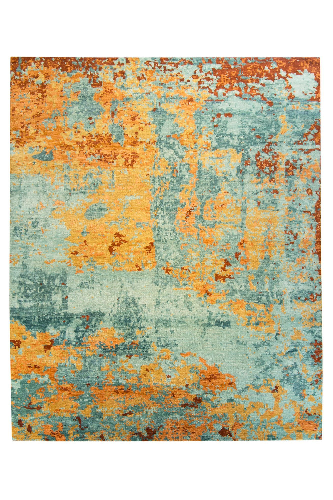 Abstract Teal Orange Rug 8x10 Orange Rugs Rugs Teal Cushions