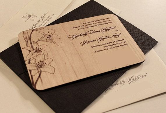 wedding invitations laser engraved wood hochzeit. Black Bedroom Furniture Sets. Home Design Ideas