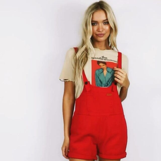 f2d1214578 Lovin  this combo Shop our exclusive Red Sloan Denim Overalls with our  Gentlewoman Tee online now!