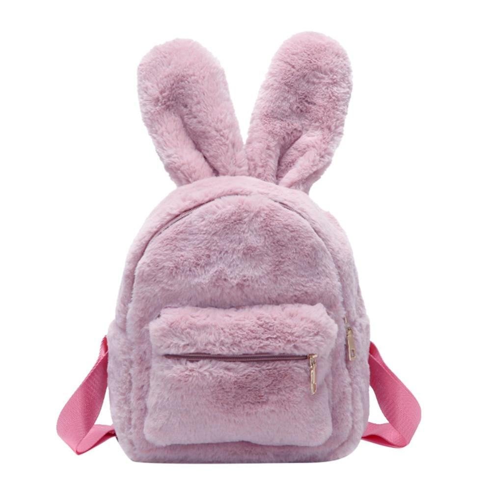 Cute solid faux fur backpack girls rabbit shape backpacks
