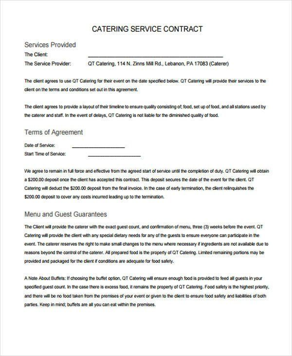 Contract for Catering Services Template New 13 Catering ...