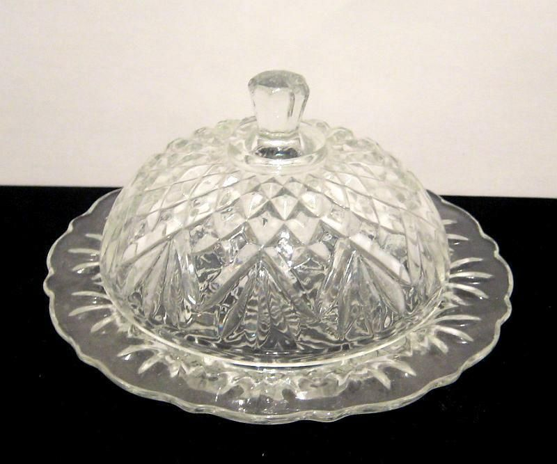 Vintage Anchor Hocking Clear Glass Butter Dish Covered W Round Dome Deco Butter Dish Vintage Clear Glass