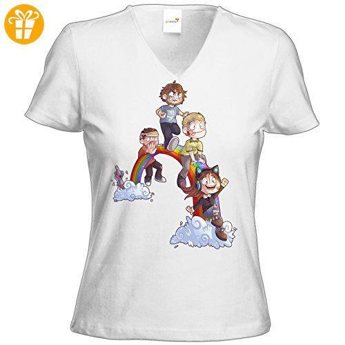 getshirts - Gronkh Official Merchandising - T-Shirt Damen V-Neck - Dead by Daylight - Regenbogen - weiss XXL (*Partner-Link)