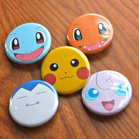 cookie design ideas pokemon button set pokemon pin set set of 5 rh pinterest com