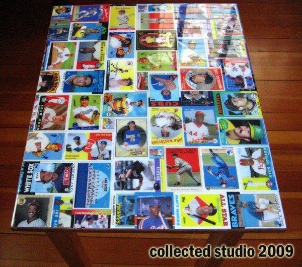 Baseball Card Collage End Table | Baseball cards, Collage ...