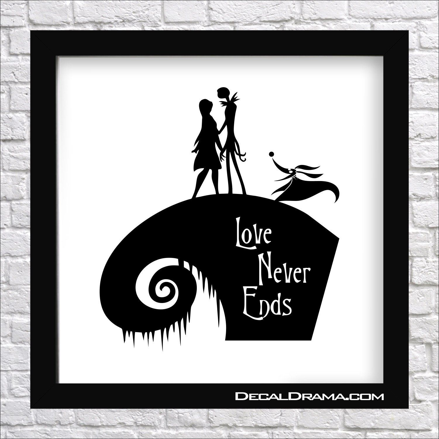 """Nightmare Before Christmas-inspired Fan Art: Love Never Ends, with Jack Skellington & Sally & Zero Jack Skellington, Sally, Disney-inspired Fan Art Vinyl Car/Laptop Decal, Nightmare Before Christmas, NBC, Tim Burton, Sally, Santi Claws, Oogie Boogie, Zero, Pumpkin King; vinyl decal measures 6""""w x 6-5/8""""h (15.2cm x 16.8cm) ★★★ This order is for the vinyl wall decal only. ★★★ Please CHOOSE you vinyl color from the pull-down menu (check the last picture for our 20 color options). ★★★ Pictur"""