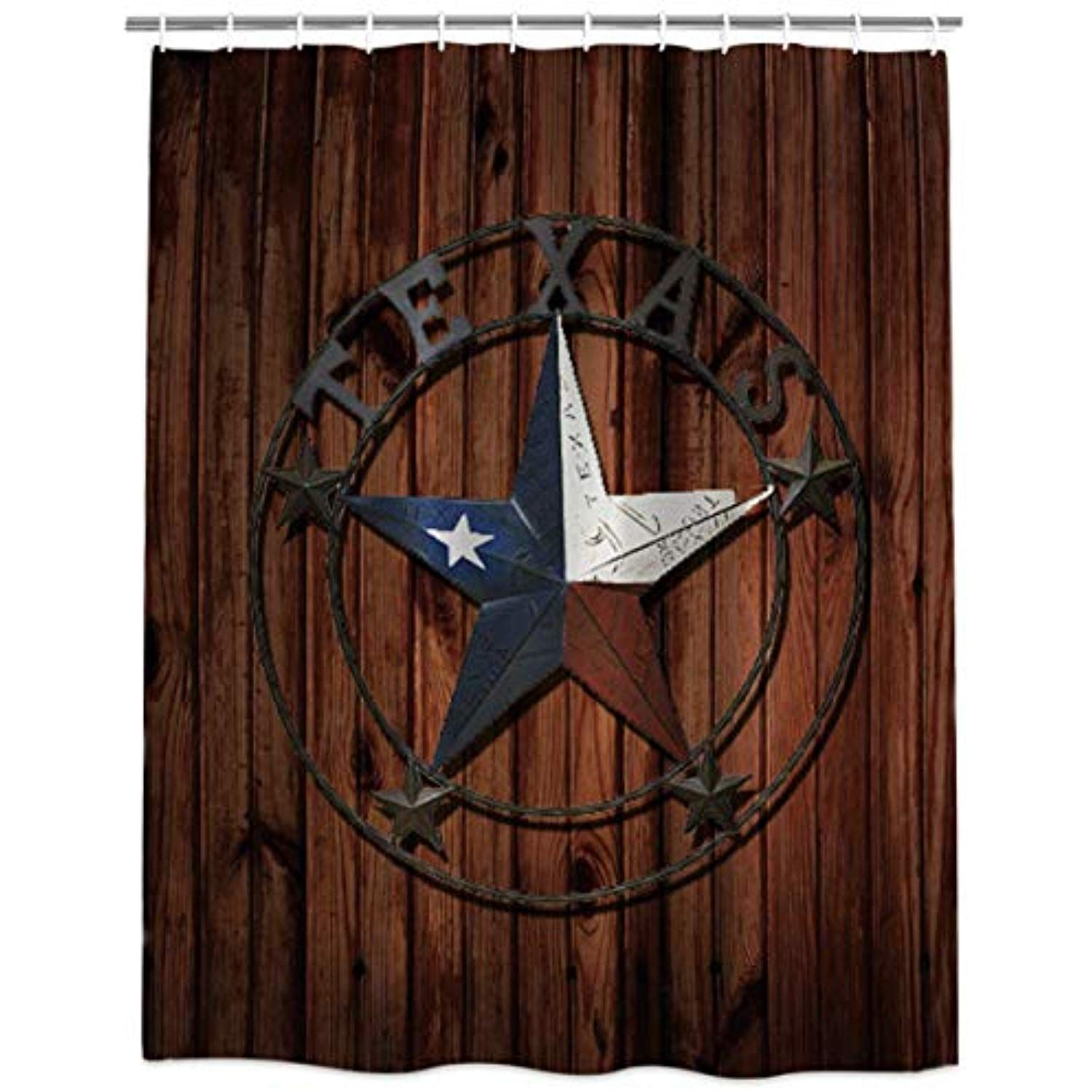 Prironde Fabric Shower Curtain Western Texas Star Rustic Wood