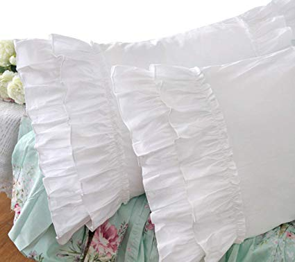 Amazon Com Queen S House Vintage Ruffle Pillow Sham White Pillowcase Standard Size 1 Piece Z Home Kitchen In 2020 Pillows Pillow Cases Ruffle Pillow