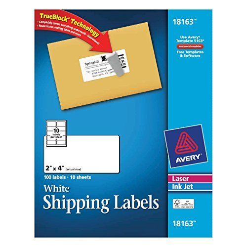 avery shipping labels for laser and inkjet printers white 2 x 4