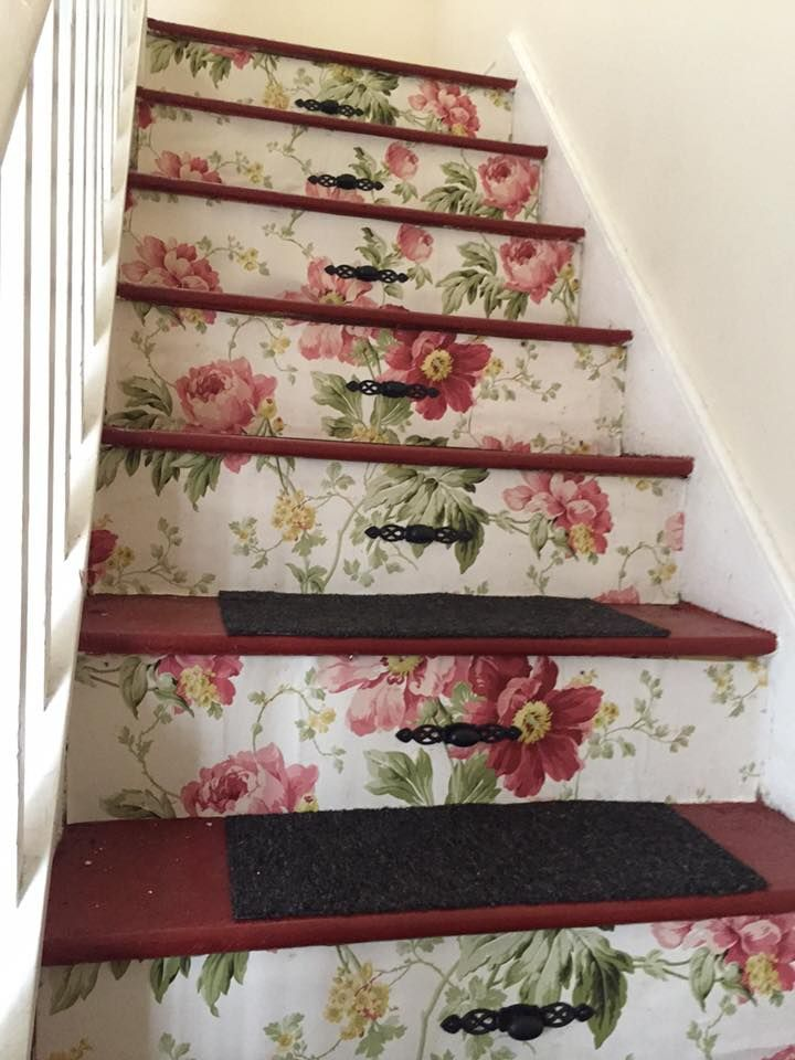 Laura Ashley peony garden decoupaged stairs , handles added to make ...
